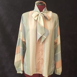 Pastel striped vintage blouse with bow necktie